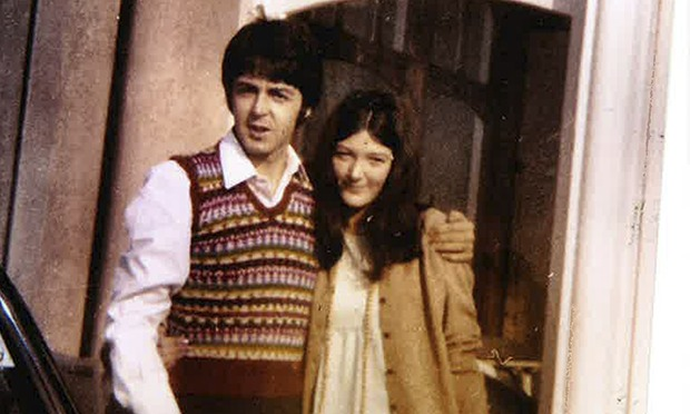 Freda Kelly and Paul McCartney outside the Atlantic Hotel in Newquay, 1967, during filming of Magica